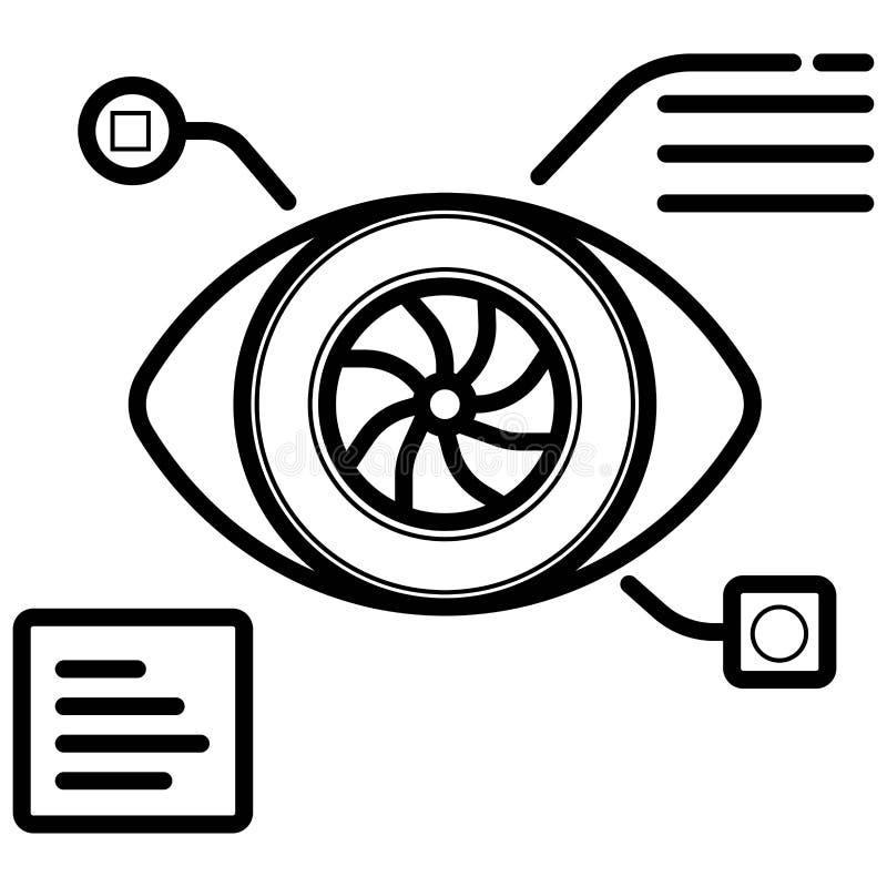 Bionisch de lijnpictogram van de oogprothese stock illustratie