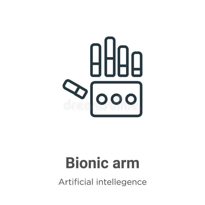 Bionisch wapenomlijningsvectorpictogram Dunne lijn zwart bionic arm pictogram, vlakke vector eenvoudige elementenillustratie van  vector illustratie