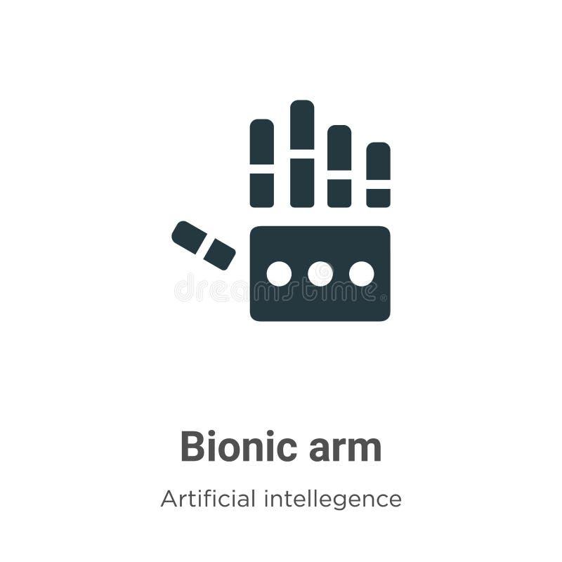 Bionisch wapenvectorpictogram op witte achtergrond Een platte bionic arm-ikoon, symbool van moderne kunstmatige intelligentie en  vector illustratie