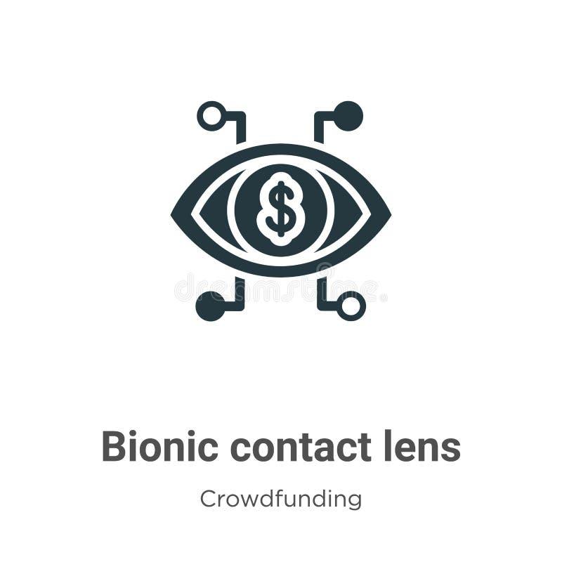 Bionische contactlens-vectorpictogram op witte achtergrond Flat vector bionic contact lens icon symbol sign van modern crowdfundi royalty-vrije illustratie