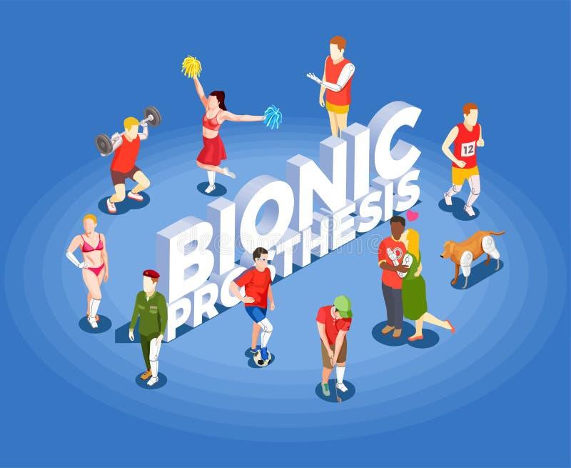 Bionische Prothesen-isometrische Vektor-Illustration stock abbildung