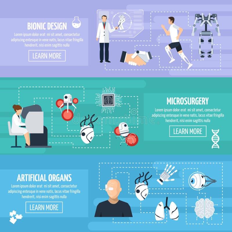 Bionische Technologie-horizontale Fahnen lizenzfreie abbildung