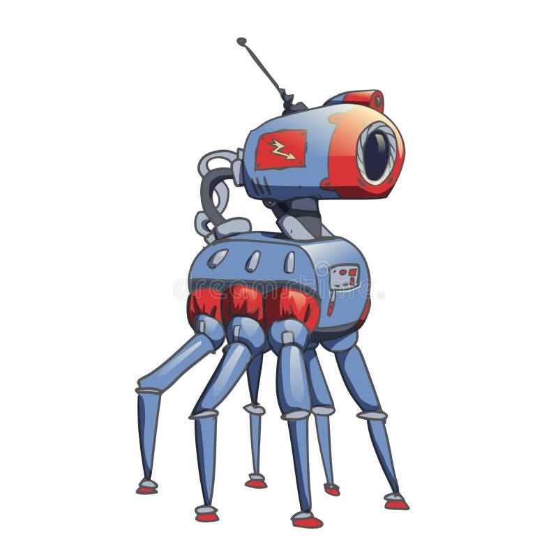 Bionischer sechs-mit Beinen versehener Roboter mit einer Kamera in seinem Kopf Vektorabbildung getrennt auf weißem Hintergrund stock abbildung