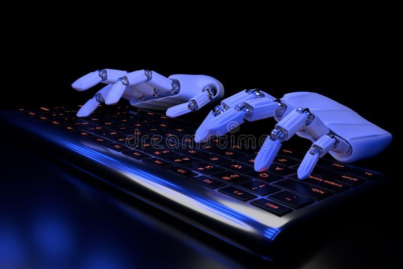Bioniska h?nder som skriver p? tangentbordet Robotic armcyborg som anv?nder datoren illustrationen 3d framf?r Bionicsteknologibeg royaltyfri illustrationer