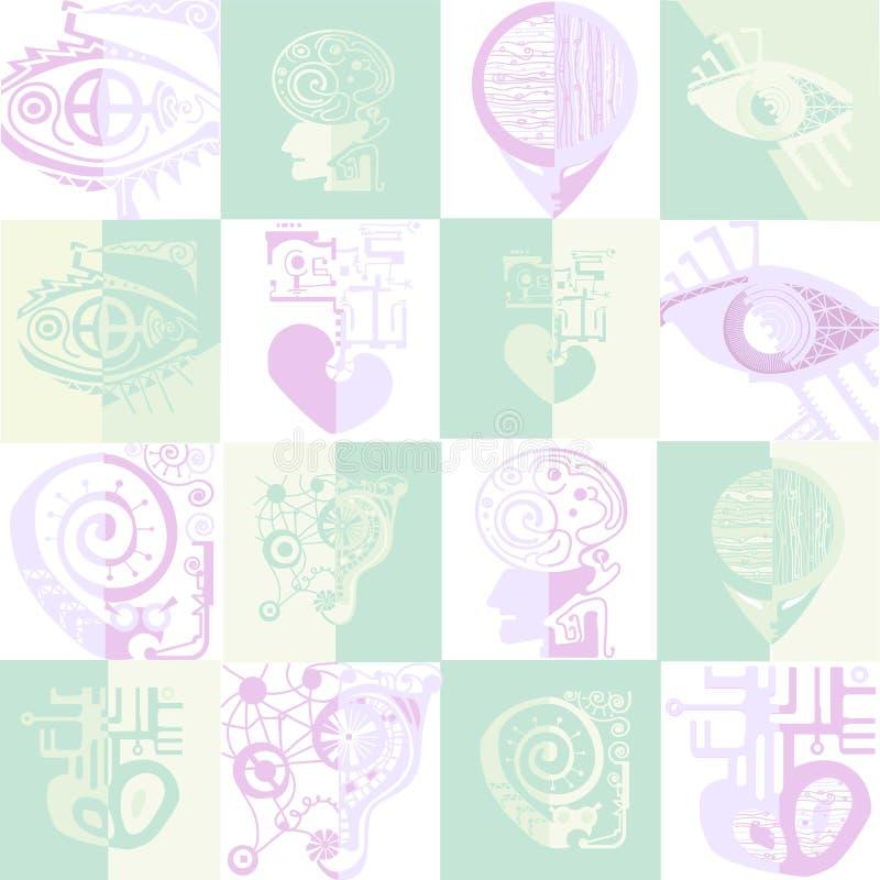 Bioniska vektorsymboler stock illustrationer