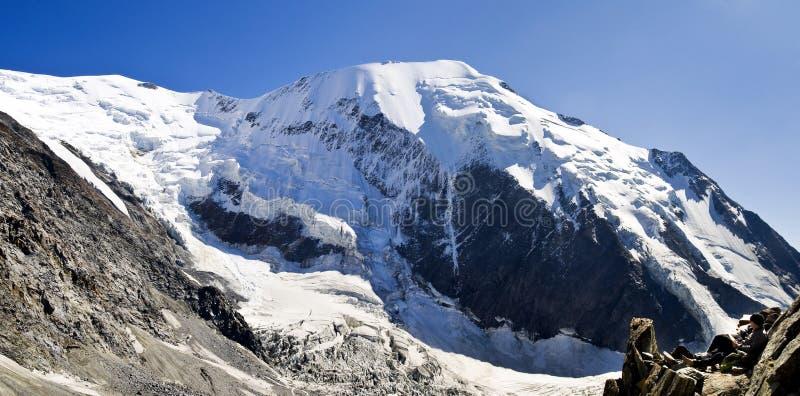 Bionnassay glacier and peak. On Mont Blanc near Chamonix royalty free stock images