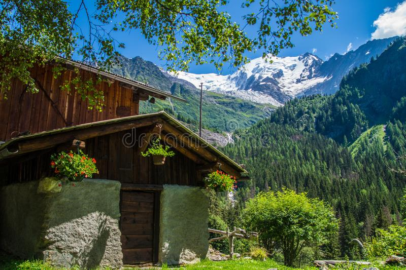 Bionnassay,haute savoie,france. Bionnassay,paysage des alpes francaise stock images