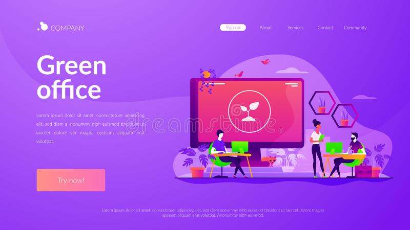 Biophilic design in workspace landing page template royalty free illustration