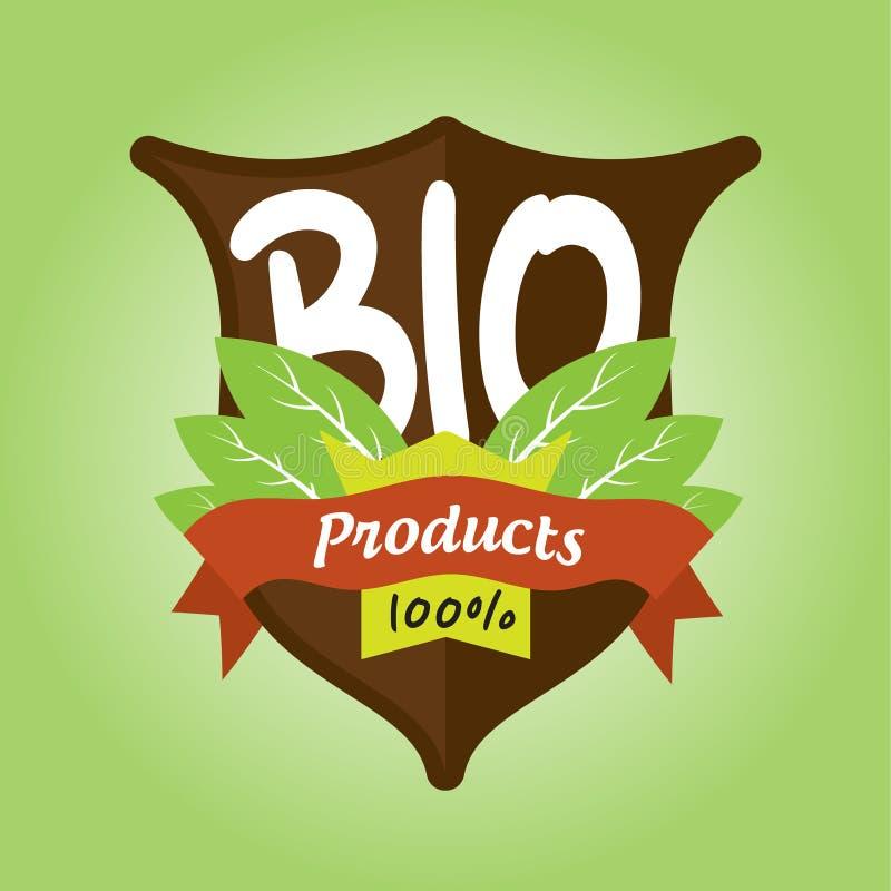 100% bioproductenkenteken royalty-vrije illustratie