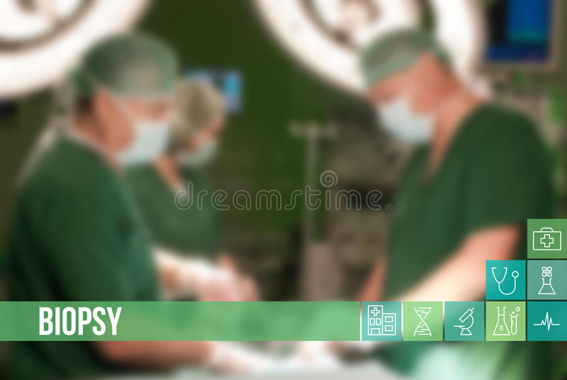Biopsy medical concept image with icons and doctors on background. Great for illustrating medicine terms royalty free stock photography