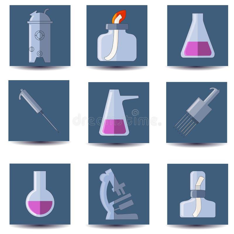 Bioreattore, lampada di spirito, provette, pipetta, microscopio illustrazione di stock
