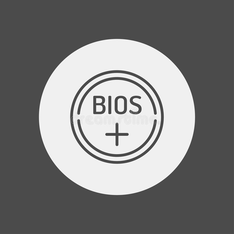 Bios battery icon sign symbol. Bios battery line icon, outline vector sign, linear style pictogram isolated on white. Symbol, logo illustration. Editable stroke vector illustration