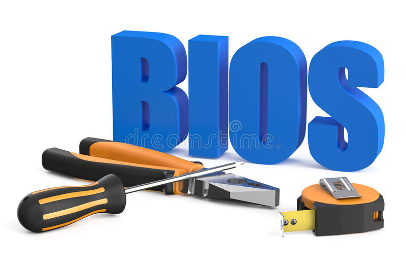 BIOS servise and repair concept. Isolated on white background royalty free illustration