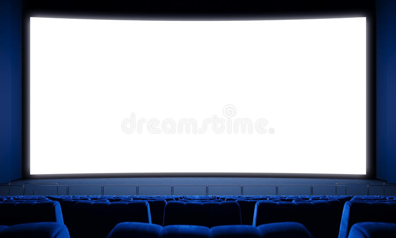 Bioscoop met lege zetels en het grote witte scherm 3d geef terug royalty-vrije stock afbeeldingen
