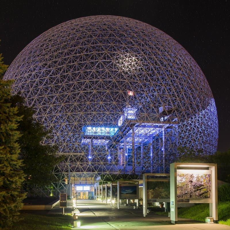 Biosfera, museo dell'ambiente et notte fotografia stock