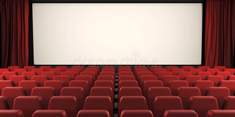 Bioskärm med den öppna gardinen 3d stock illustrationer