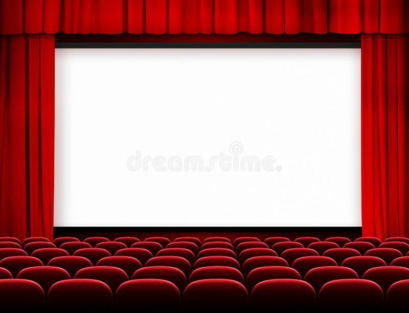 Bioskärm med röda gardiner och platser royaltyfri bild