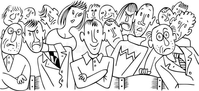 Bioskoop. De groep verschillende volwassen mensen. stock illustratie