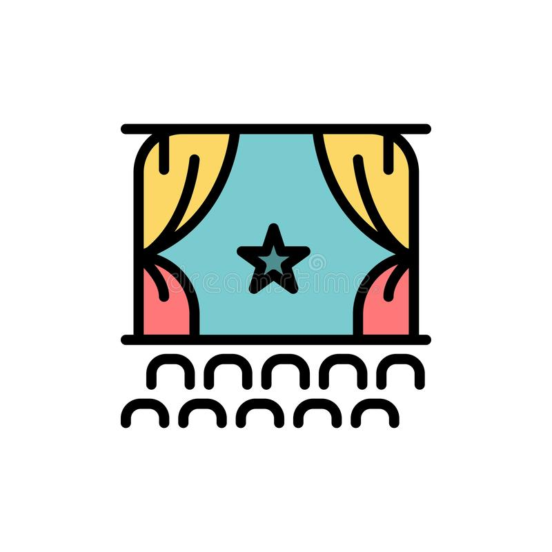 Bioskoop, Debuut, Film, Prestaties, Pictogram van de Première het Vlakke Kleur Het vectormalplaatje van de pictogrambanner stock illustratie