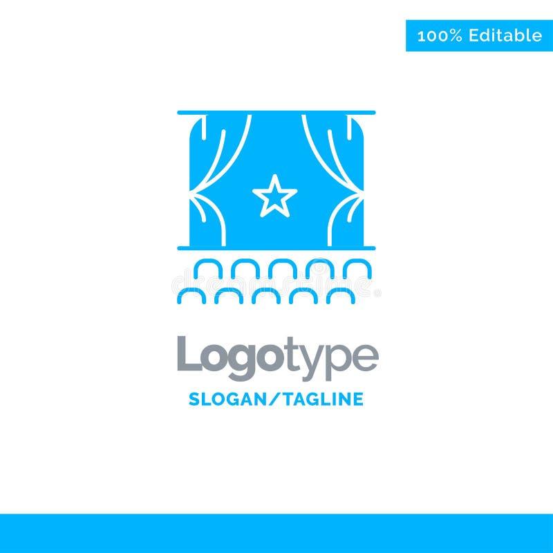 Bioskoop, Debuut, Film, Prestaties, Première Blauw Stevig Logo Template Plaats voor Tagline royalty-vrije illustratie
