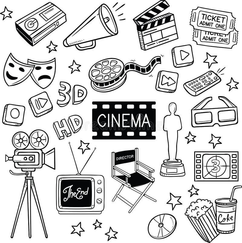 Bioskoop en Film Vectorkrabbels royalty-vrije illustratie