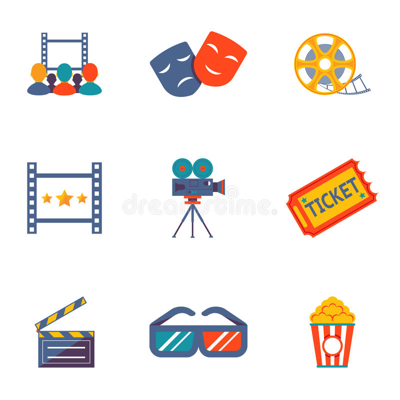 Bioskoop en reeks van het Film de vlakke pictogram stock illustratie