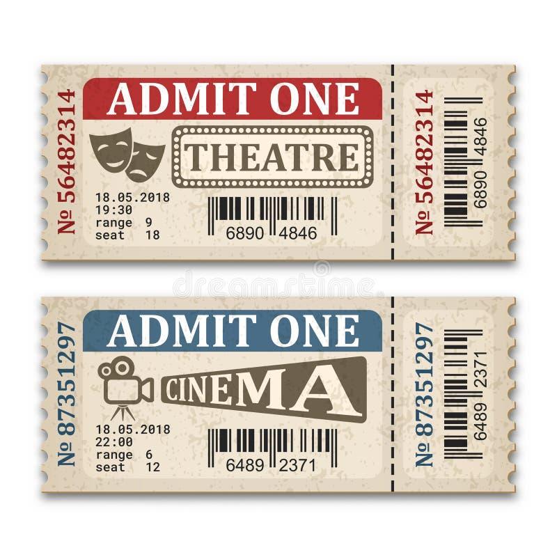 Bioskoop en theaterkaartjes in retro stijl Twee die toelatingskaartjes op witte achtergrond worden geïsoleerd vector illustratie