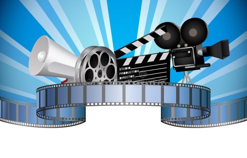 Bioskoop, film, film en videomedia-industrie stock illustratie