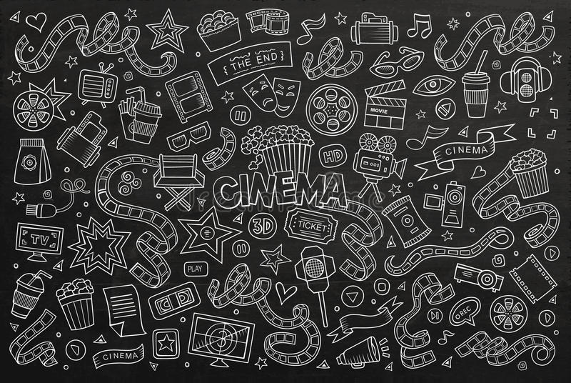 Bioskoop, film, het getrokken bord van filmkrabbels hand royalty-vrije illustratie