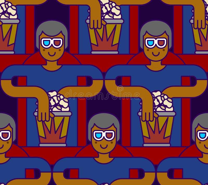 Bioskoop Naadloos Patroon Toeschouwer in stereoglazen en popcorn vector illustratie