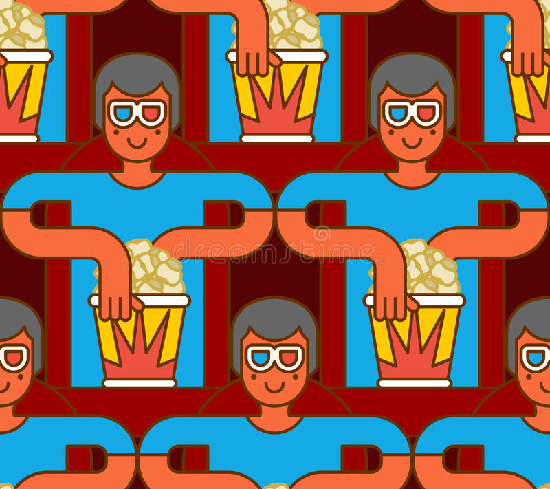 Bioskoop Naadloos Patroon Toeschouwer in stereoglazen en popcorn stock illustratie