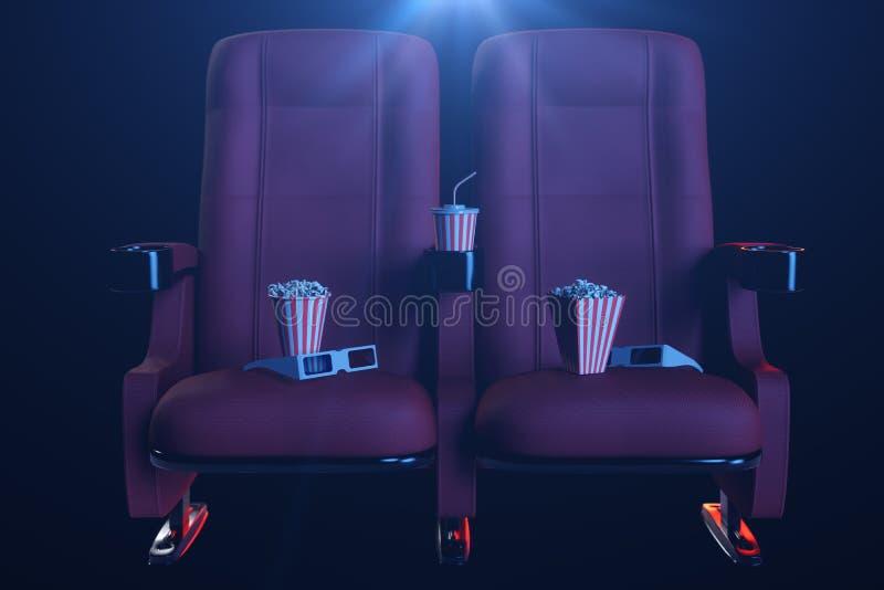 Bioskoopfilm het letten op Samenstelling met 3d glazen, popcorn en kop met een drank Bioskoopconcept met blauw licht 3d stock afbeelding
