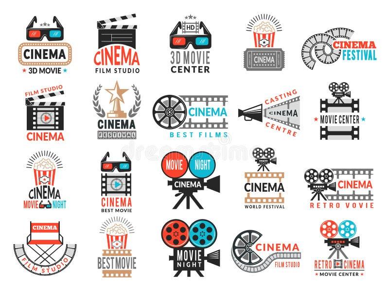 Bioskoopkentekens Van de de symbolencamera van de filmproductie van de de directeursstoel van de de filmband vector het embleemin vector illustratie