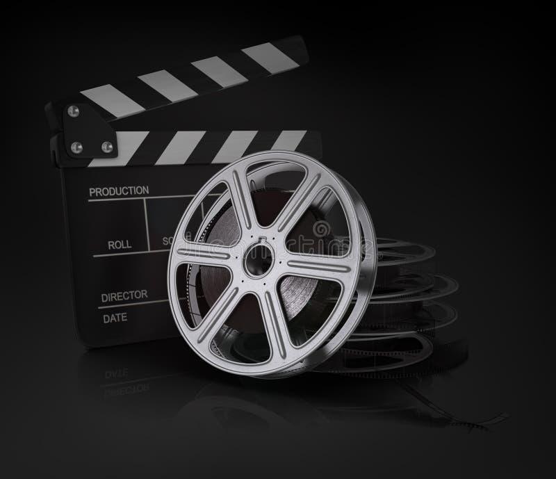 Bioskoopklap en filmspoel royalty-vrije illustratie
