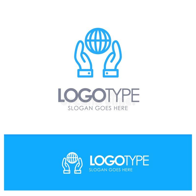 Biosphère, conservation, énergie, contour bleu Logo Place de puissance pour le Tagline illustration de vecteur