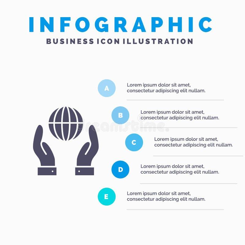 Biosphère, conservation, énergie, fond solide de présentation d'étapes d'Infographics 5 d'icône de puissance illustration de vecteur