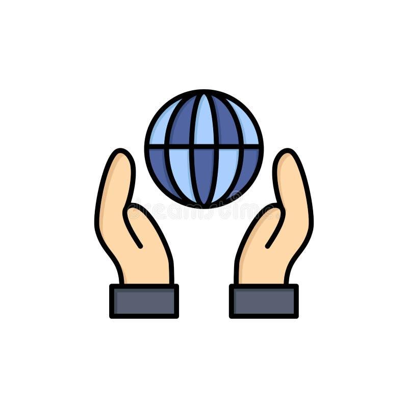 Biosphère, conservation, énergie, icône plate de couleur de puissance Calibre de bannière d'icône de vecteur illustration libre de droits
