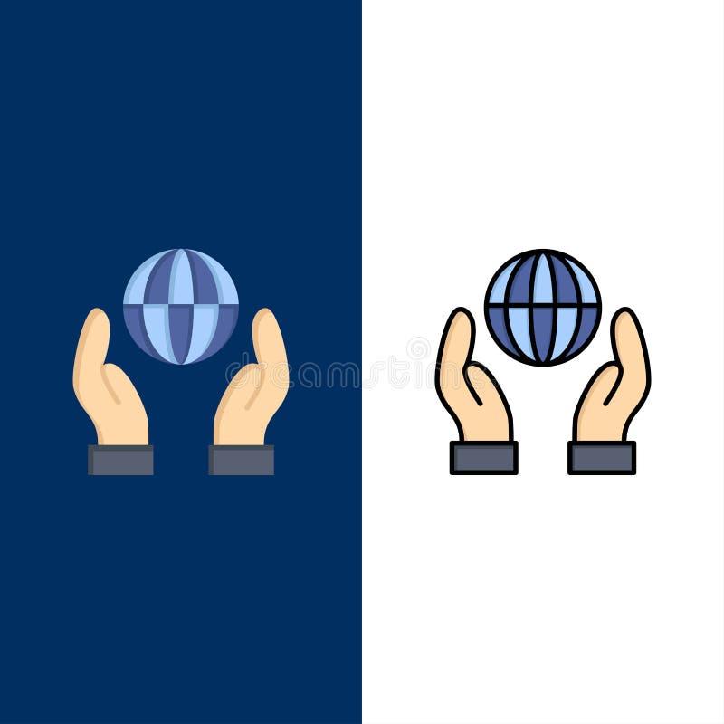 Biosphère, conservation, énergie, icônes de puissance L'appartement et la ligne icône remplie ont placé le fond bleu de vecteur illustration libre de droits