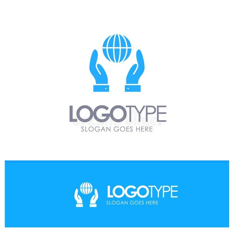 Biosphère, conservation, énergie, logo solide bleu de puissance avec l'endroit pour le tagline illustration stock