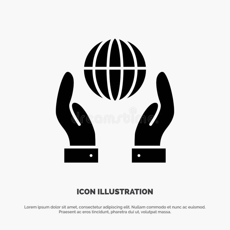 Biosphère, conservation, énergie, vecteur solide d'icône de Glyph de puissance illustration de vecteur