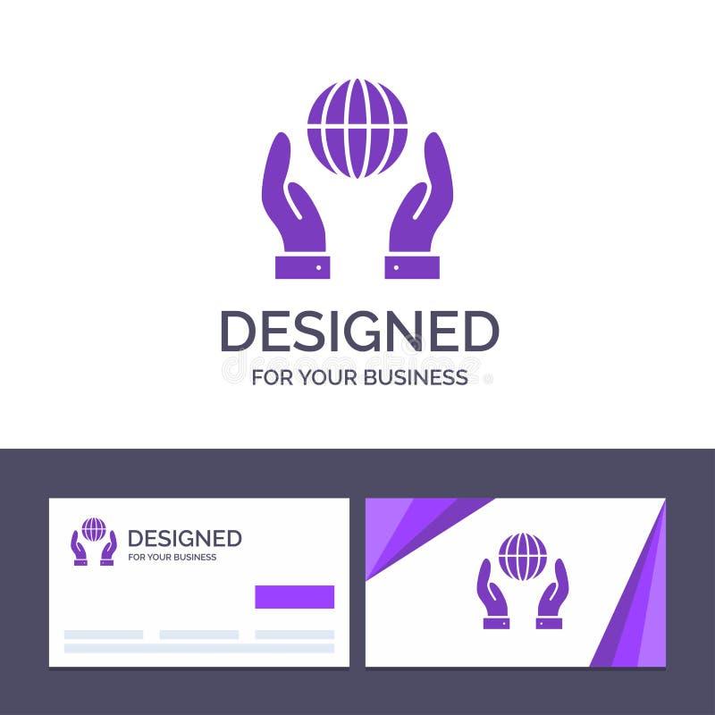 Biosphère de visite de calibre créatif de carte de visite professionnelle et de logo, conservation, énergie, illustration de vect illustration stock