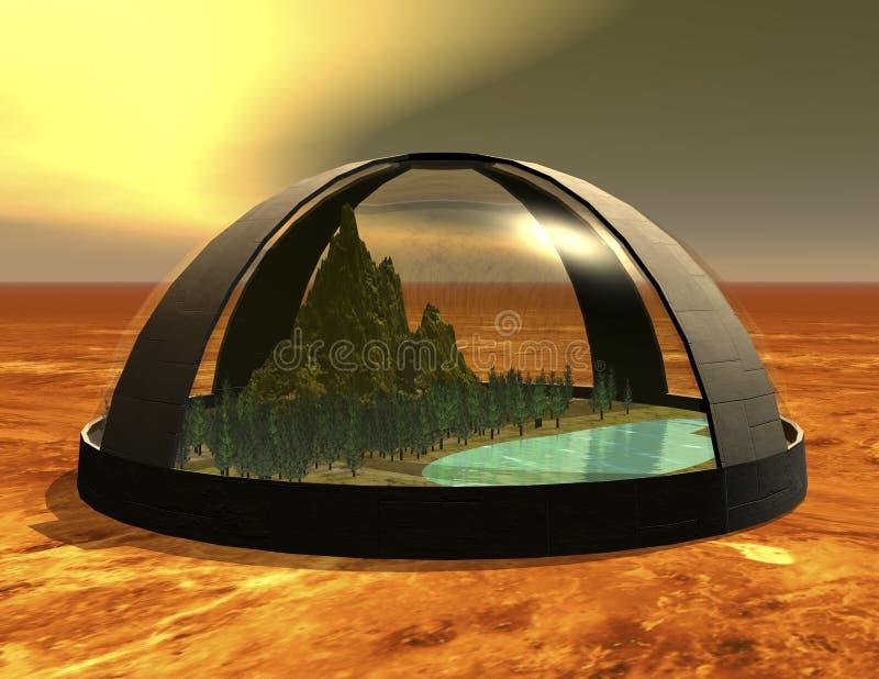 Biosphere. Digital rendering of a science fiction biosphere vector illustration