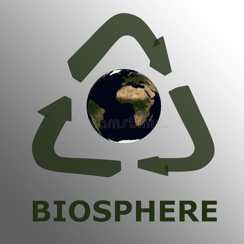 BIOSPHERE - biological concept. BIOSPHERE script , under a 3D recycling symbol surrounding 3D model of the world Showing Earth from space. Elements of this image stock illustration