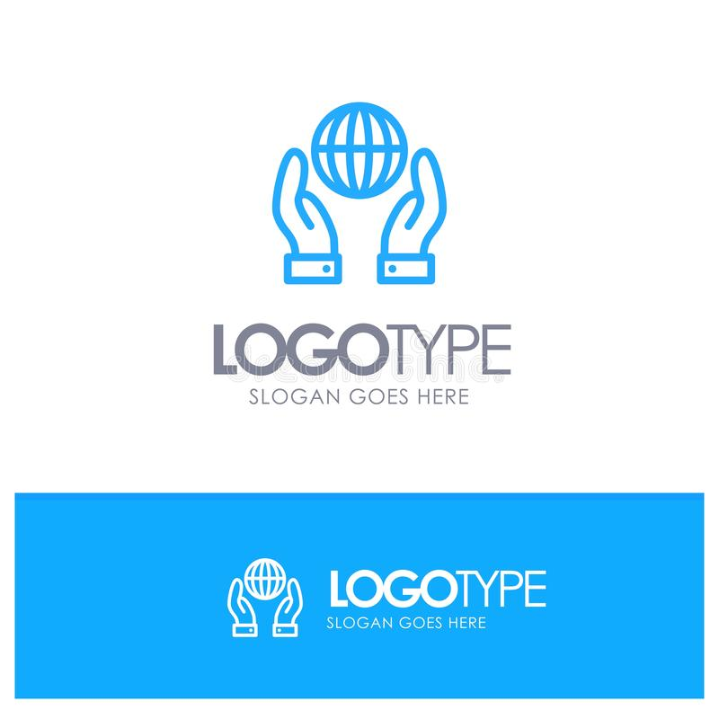 Biosphere, Conservation, Energy, Power Blue Outline Logo Place for Tagline vector illustration