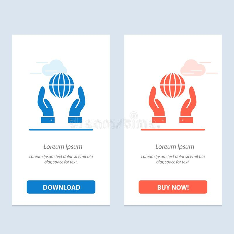 Biosphere, Conservation, Energy, Power  Blue and Red Download and Buy Now web Widget Card Template vector illustration