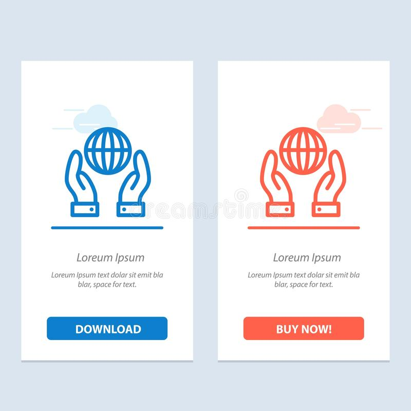 Biosphere, Conservation, Energy, Power  Blue and Red Download and Buy Now web Widget Card Template royalty free illustration