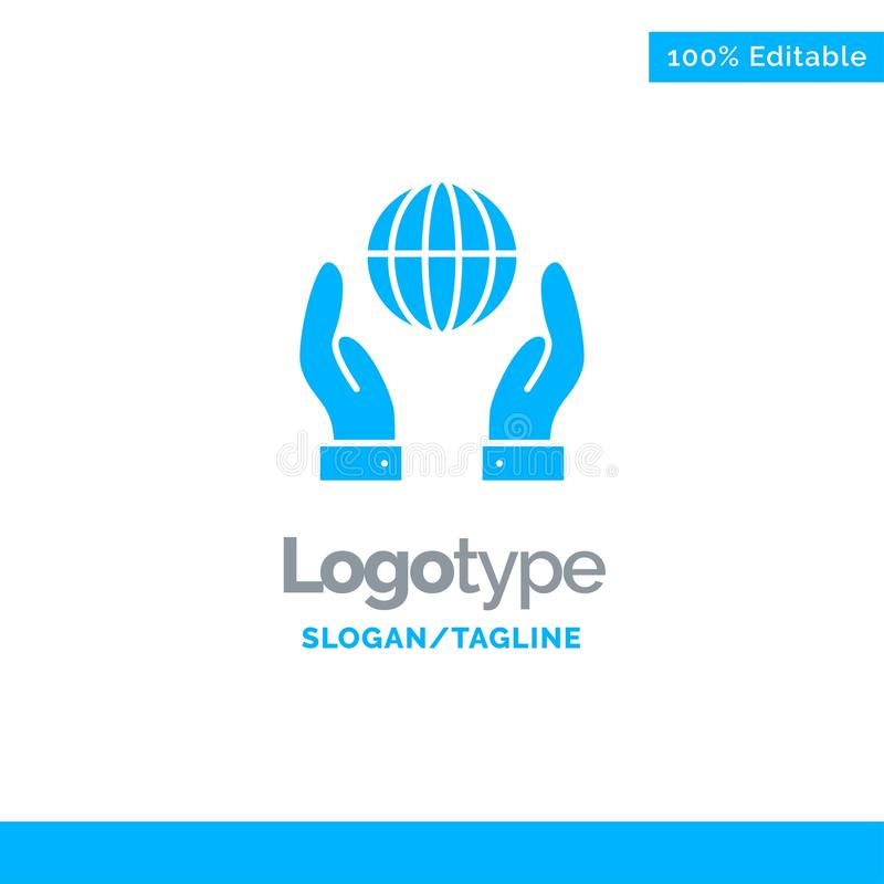 Biosphere, Conservation, Energy, Power Blue Solid Logo Template. Place for Tagline vector illustration