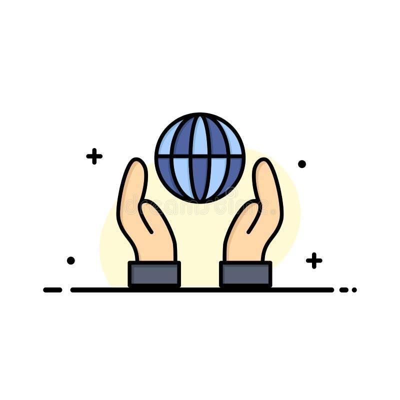 Biosphere, Conservation, Energy, Power Business Logo Template. Flat Color stock illustration