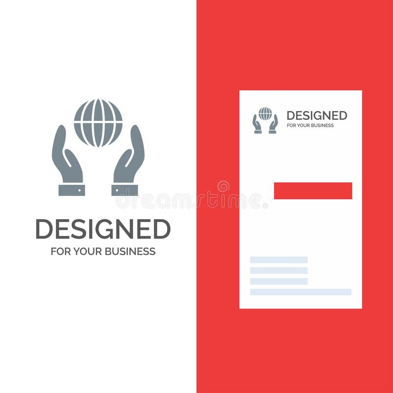 Biosphere, Conservation, Energy, Power Grey Logo Design and Business Card Template stock illustration