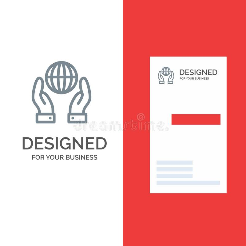 Biosphere, Conservation, Energy, Power Grey Logo Design and Business Card Template vector illustration
